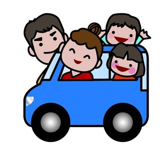 Families riding in the car