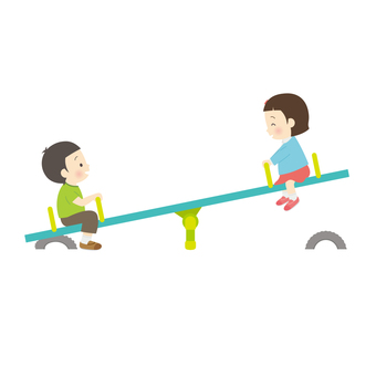Kids playing on seesaw