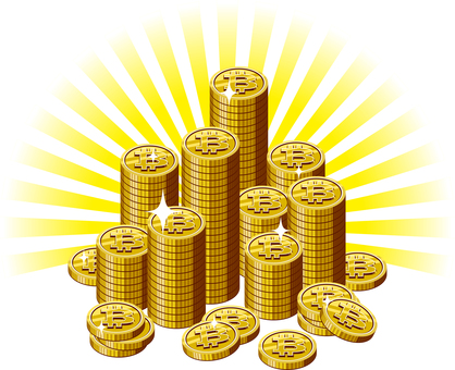 Bit coin pile of light