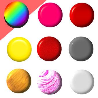 シンプルな丸、球 ボタンの立体的