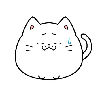 White cat sad