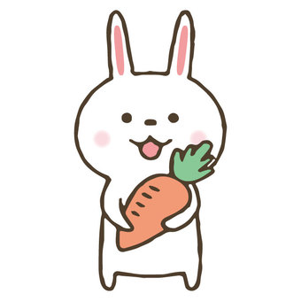 Cute hand drawn rabbit with carrot