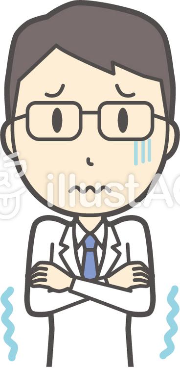 医師青年眼鏡-124-バストのイラスト