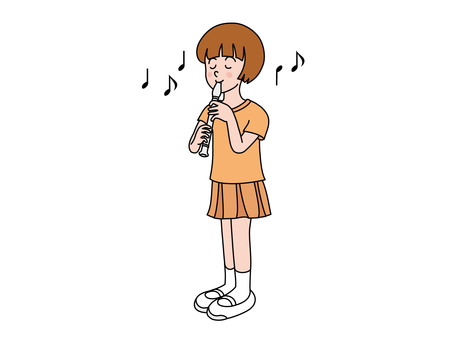 A girl blowing a recorder