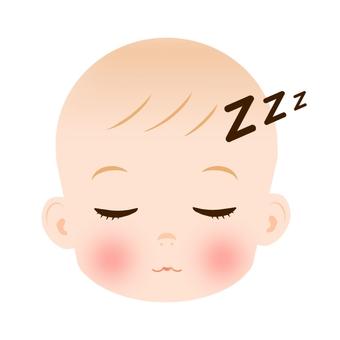 Baby's face sleeps