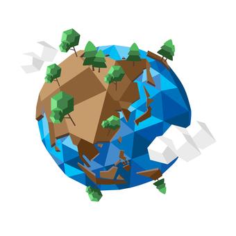 Polygon style world map globe