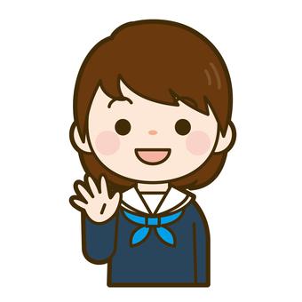 손 흔들기 중학생