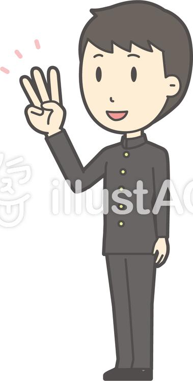 中学生学ラン男性-574-全身のイラスト
