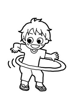 Child playing hula hoop