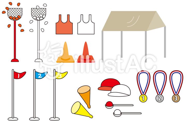 運動会備品セット(体育祭セット)のイラスト