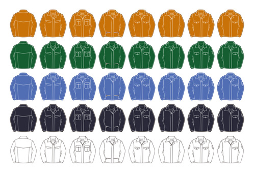Multicolored Working Clothes Illustration Assortment Set