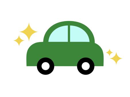 Car car horizontal green glitter
