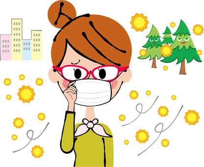 Pollen allergy prevention woman with glasses and three-dimensional mask