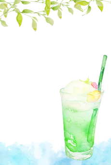 [Poska vertical] watercolor melon float hot summer sunrise