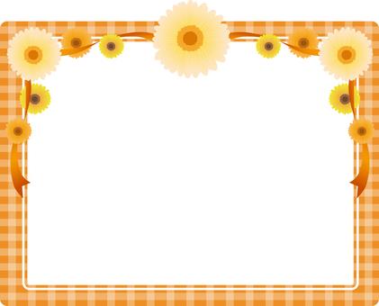 Orange check · flower background