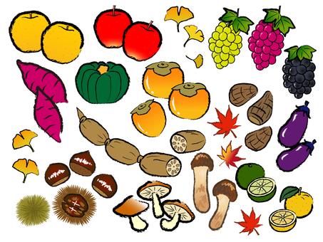 Japanese style material Autumn taste hunting vegetable fruit Assorted