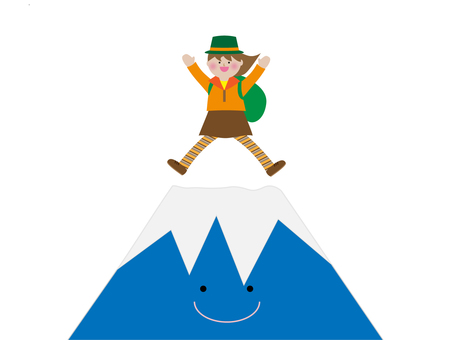 Mt. Fuji and mountain girl illustration material
