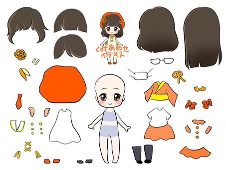 Dress-up doll (girl illustration)
