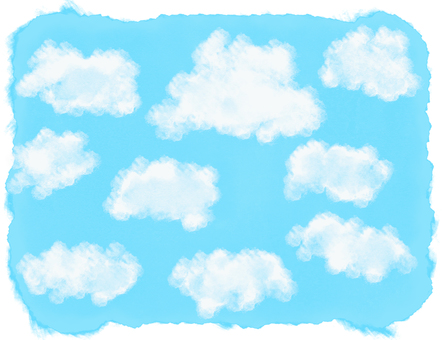 Watercolor frame cloud and blue sky