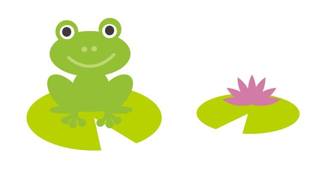 Illustration of a frog and a lotus flower
