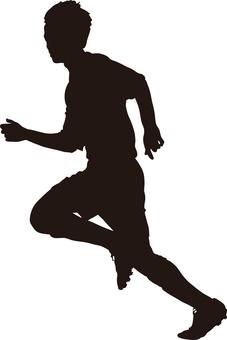 Football silhouette running