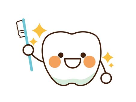 拿著牙刷的牙