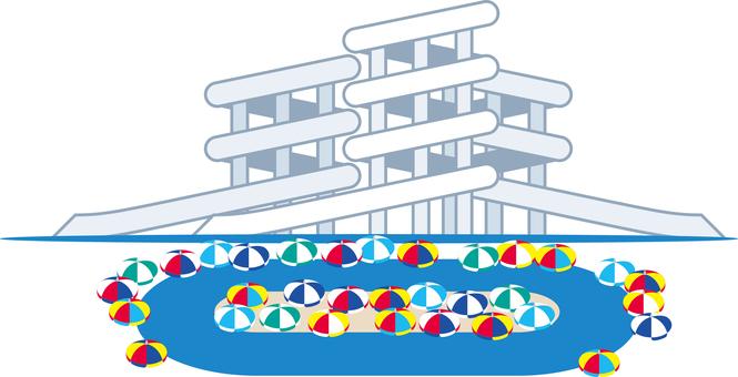 Water slider flowing pool
