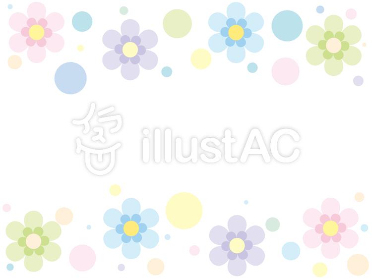 【フリーイラスト素材】パステル花柄模様フレーム