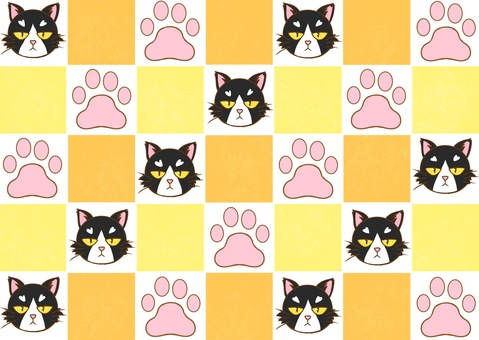 Cats and meat balls and checkered flag pattern wallpaper