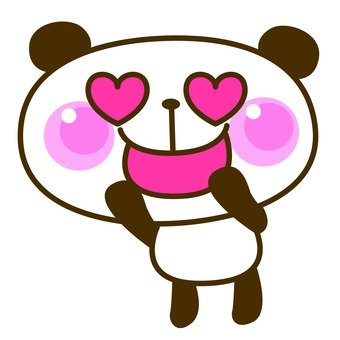 Panda eyes heart