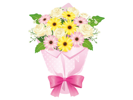 Bouquet of White Roses and Gerberas Arrangement 01