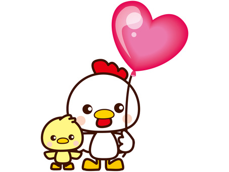 Chickens and chicks and balloons
