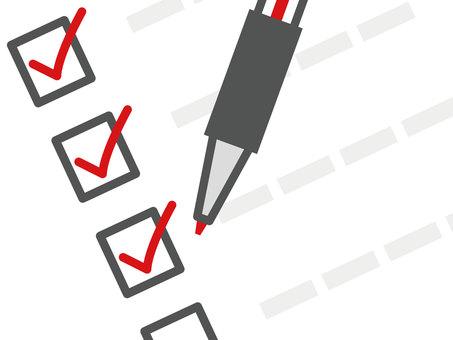 Checklist _ red ballpoint pen