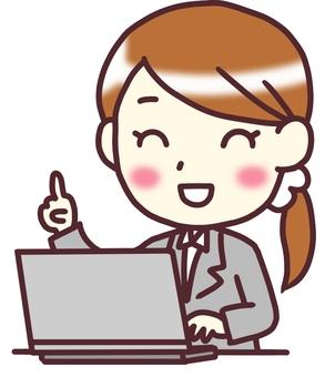 [여성 정장] 대각선 _PC 손가락 찔러 1_ 반신