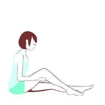 Women's line drawings sitting on one knee