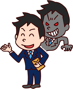 Illustration of evil salesman