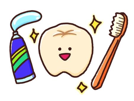 치아와 칫솔과 치약