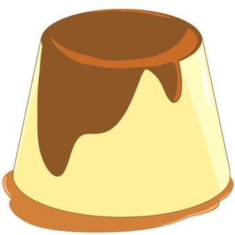 Pudding with caramel sauce