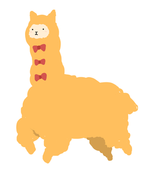 Alpaca with ribbon