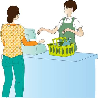 Woman hitting a cash register