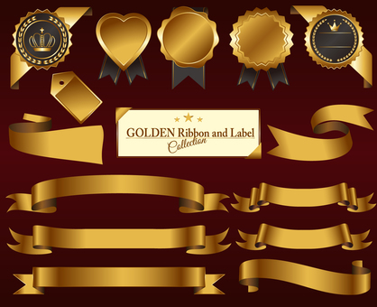 Gold Medal & Ribbon Set