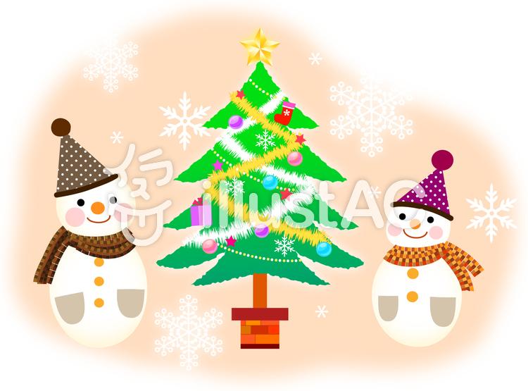 雪だるまとクリスマスツリーのイラスト