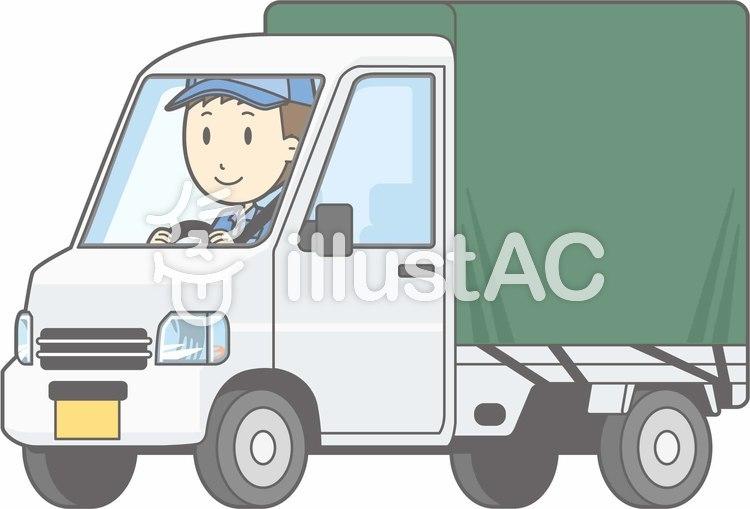 車01-軽トラ3-運転-全身のイラスト