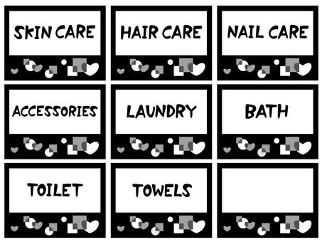 Washroom storage label