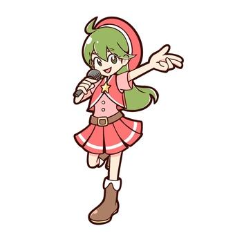 녹색 머리 긴 머리의 아이돌 여자