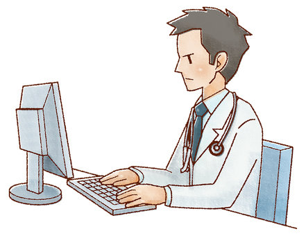 Male doctor using a personal computer