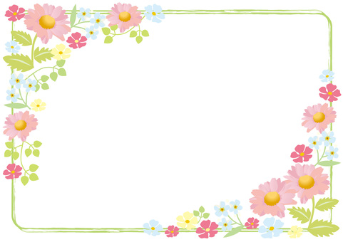 Pembe çiçek çerçeve