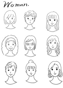 Line drawings Various types of women