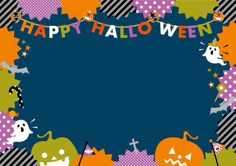 POP Halloween frame_A 紺 jagged