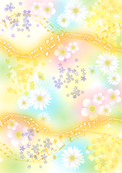 Spring flowers and staves background